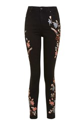 Topshop Moto Limited Edition Floral Embroidered Jamie Jeans Black