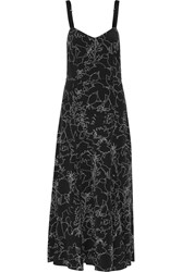 Rag And Bone Jade Printed Silk Midi Dress Black