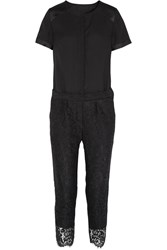 J.Crew Collection Crepe And Lace Jumpsuit Black