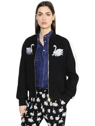 Stella Mccartney Swan Embroidered Felted Wool Bomber