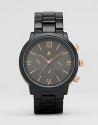 Asos Bracelet Watch In Black And Rose Gold Black