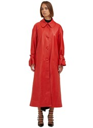 Drome Oversized Leather Trench Coat Red