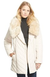 Women's Steve Madden Faux Fur Collar Asymmetrical Zip Quilted Coat