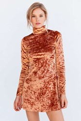 Kimchi And Blue Crushed Velvet Mock Neck Mini Dress Brown
