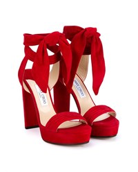 Jimmy Choo Kaytrin 120 Suede Platform Sandals Red Blue