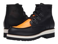Dsquared Construction Calf Leather Ankle Boot Black Orange