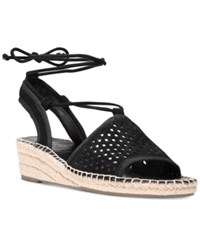 Franco Sarto Liona Lace Up Espadrille Wedge Sandals Women's Shoes Black