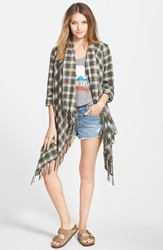 Billabong 'Live It Up' Flannel Cardigan Off Black