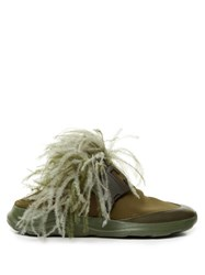 Christopher Kane Feather Embellished Slip On Neoprene Trainers Khaki