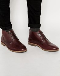 River Island Chukka Boots In Faux Leather In Burgundy