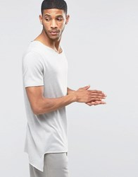 Asos Super Longline T Shirt With Curved V Neck And Pointed Hem Sable Brown