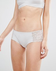 Monki Lace Insert Brief Grey
