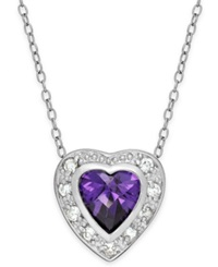 B. Brilliant Purple And Clear Cubic Zirconia Heart Pendant Necklace In Sterling Silver