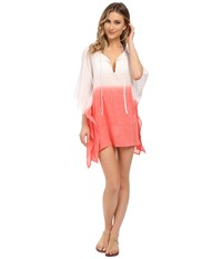 Echo Ombre Kangaroo Poncho Cover Up Bright Coral Women's Swimwear Gray