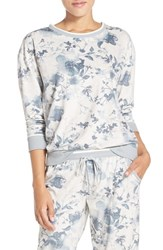 Kensie Women's Floral Print Pullover White Sands Heather Flowers