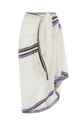 Christophe Sauvat Cotton Wrap With Striped Trim White