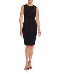 Calvin Klein Faux Suede Sheath Dress Black