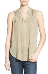 Women's Lush Lace Up Sleeveless Henley Top