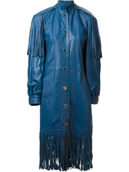 Christian Dior Vintage Long Fringed Coat Blue