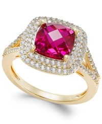 Macy's Lab Created Ruby 2 1 2 Ct. T.W. And White Sapphire 1 2 Ct. T.W. Ring In 14K Gold Plated Sterling Silver Yellow Gold