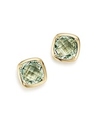 Bloomingdale's Green Quartz Square Stud Earrings In 14K Yellow Gold Green Gold