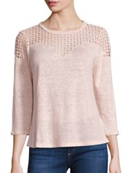 Rebecca Taylor Linen And Cotton Lace Yoke Tee Ballet