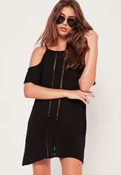 Missguided Cold Shoulder Beach Dress Black