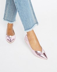 Daisy Street Faux Pearl Pink Mirror Point Flat Shoes Pink Mirror