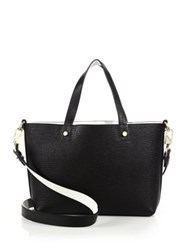 Luana Italy Carlyle Mini Reversible Two Tone Textured Leather Tote Black White