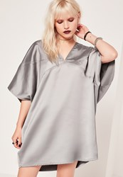 Missguided Panelled Oversized Satin Dress Purple