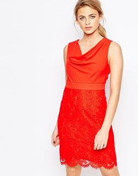Oasis Cowl Neck Pencil Dress With Lace Skirt Red