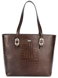 Armani Collezioni Embossed Crocodile Effect Tote Brown