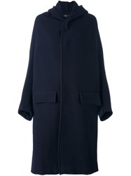 Y's Flap Pocket Hooded Coat Blue