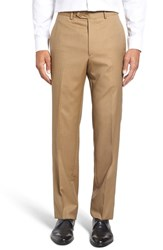 Santorelli Men's Big And Tall Flat Front Solid Wool Trousers Tan