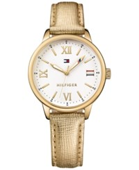 Tommy Hilfiger Women's Table Metallic Gold Leather Strap Watch 36Mm 1781721
