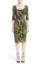 Women's Versace Collection Floral Print Stretch Cady Sheath Dress