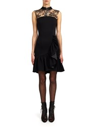 Alexis Mabille Black Jersey Dress With Flounced Trim And Lace Neckline