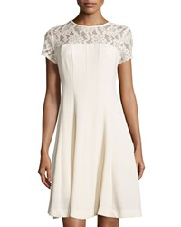 Taylor Lace Yoke Short Sleeve Fit And Flare Dress Cream Ivory