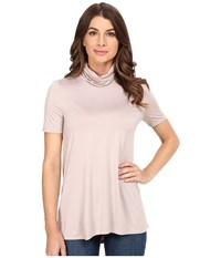 Three Dots Janessa Short Sleeve Turtleneck Ballet Pink Women's Clothing