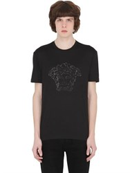 Versace Slim Embellished Medusa Cotton T Shirt