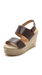 A.P.C. Two Band Wedge Sandals Dark Brown
