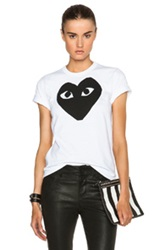 Comme Des Garcons Play Cotton Black Heart Emblem Tee In White