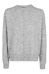 Topshop Tall Zip Side Crew Jumper Grey Marl