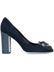 Rene Caovilla Studded Heel Embellished Pumps Blue
