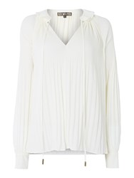 Biba Fully Pleated Collar Detail Blouse Ivory