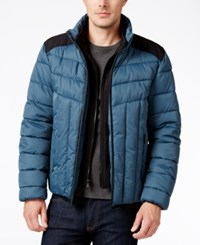 Perry Ellis Men's Colorblocked Quilted Puffer Coat With Removable Bib Orion Blue
