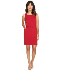 Christin Michaels Marianna Sleeveless Ponte Dress With Belt Cranberry Women's Dress Red