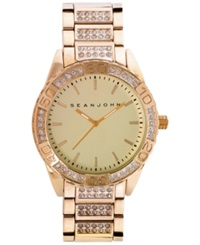 Sean John Men's Stone Accent Gold Tone Bracelet Watch 54X48mm 10021786