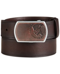 Buffalo David Bitton Logo Plaque Buckle Leather Belt Brown