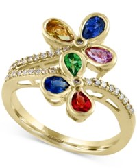 Effy Collection Watercolors By Effy Multi Gemstone 1 5 8 Ct. T.W. And Diamond 1 6 Ct. T.W. Floral Ring In 14K Gold